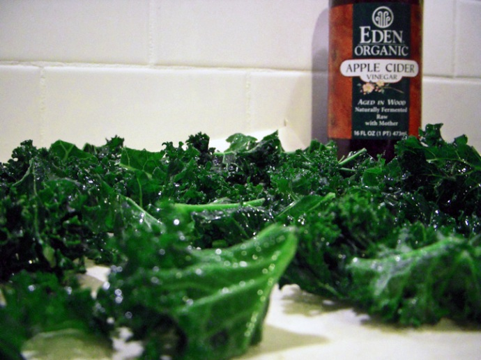 Fresh kale cut and waiting to get tossed with oil and vinegar.