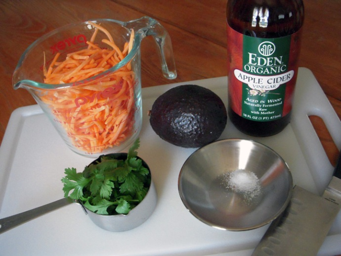 Carrot and Avocado Salad Ingredients