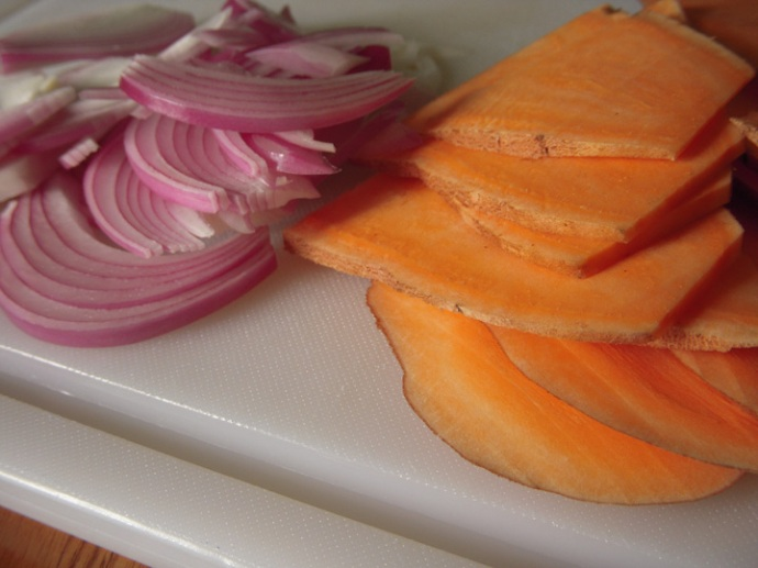 Sweet Potato Avocado Sandwich Sliced Potato and Onion