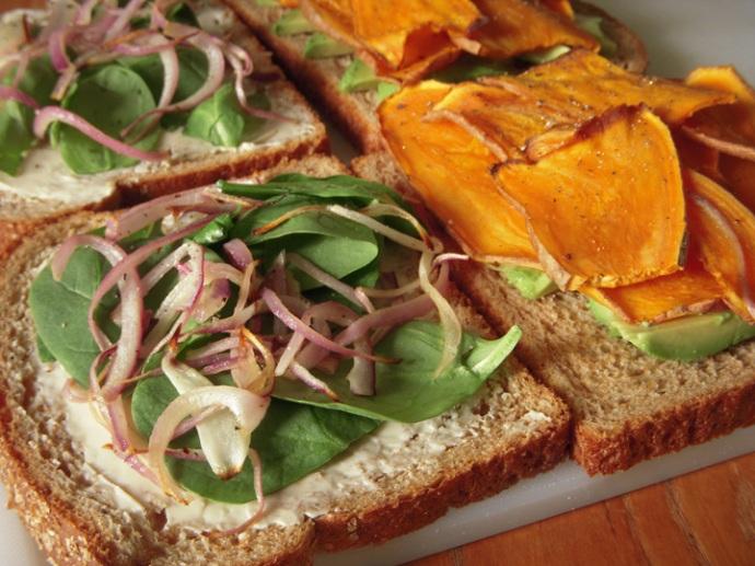 Sweet Potato Avocado Sandwich Assembly