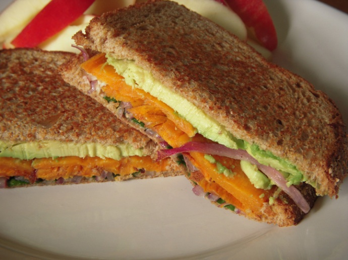 Sweet Potato Avocado Sandwich Closeup