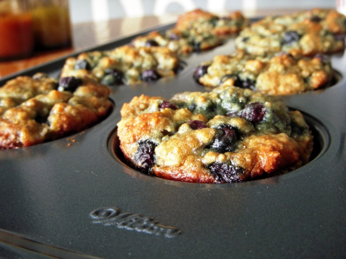 Gluten-Free Banana Blueberry Muffins in Pan