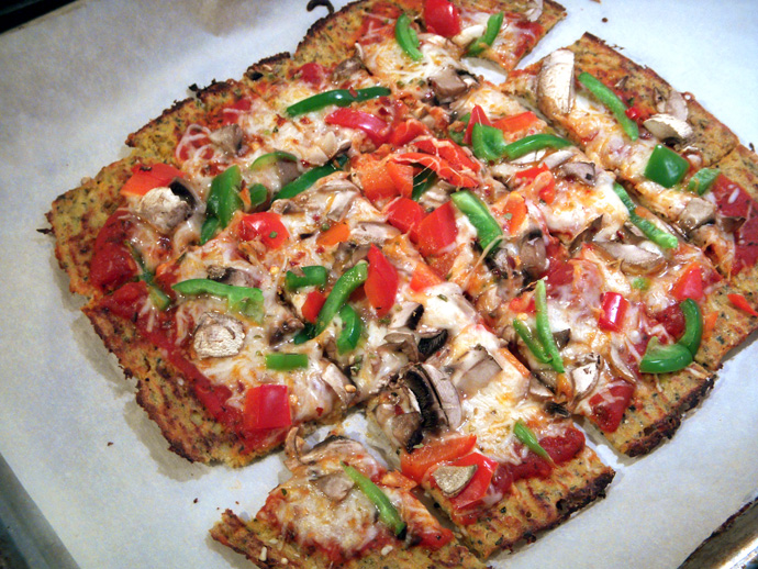 Cauliflower Crust Pizza with Veggies